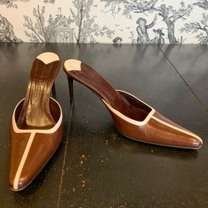 Ralph Lauren Brown Leather Mule Heels 9.5 M EUC